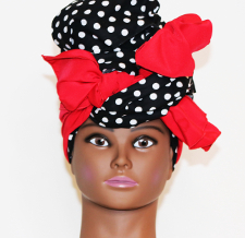 2pc black and white polka dot headwrap