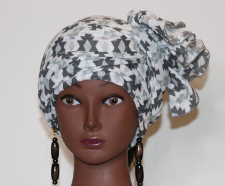 Headwrap Black and White Gauze